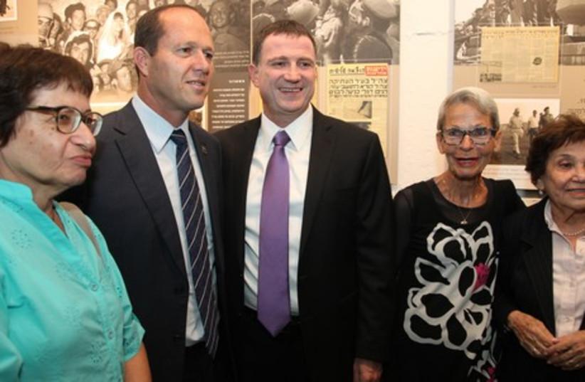 Knesset speaker Yuli Edelstein (right center), Jerusalem Mayor Nir Barkat, and two unidentified women. (photo credit: KNESSET SPOKESMAN'S OFFICE)
