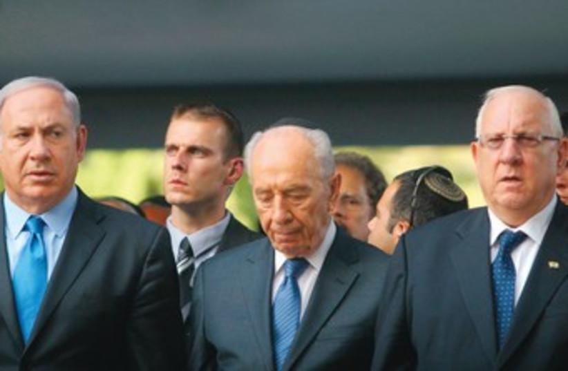 Netanyahu, Peres and Rivlin (photo credit: REUTERS)