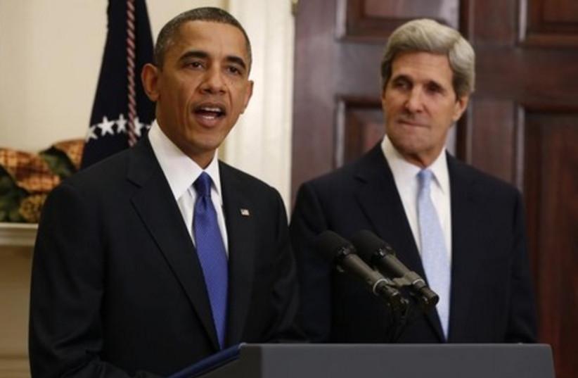 US President Barack Obama and US Secretary of State John Kerry. (photo credit: REUTERS)