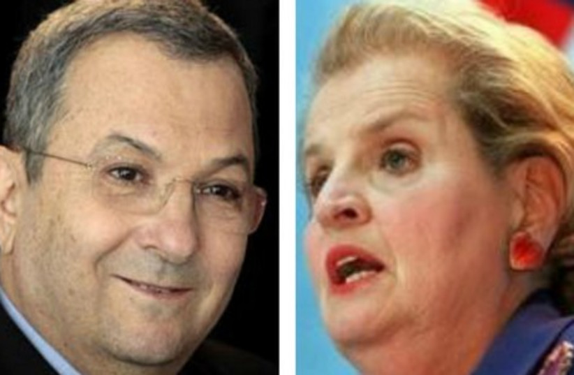 Former prime minister Ehud Barak (R) and former US secretary of state Madeleine Albright. (photo credit: REUTERS)