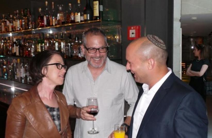(L-R) S.J. Clarkson - Director, Nate Goodman – Director of Photography, Jerusalem and Diaspora Affairs Minister Naftali Bennett. (photo credit: Courtesy)