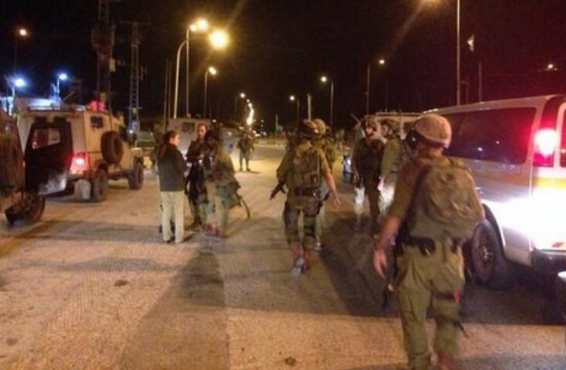 Site of shooting attack at Tapuah junction.  (photo credit: IDF SPOKESMAN'S OFFICE)