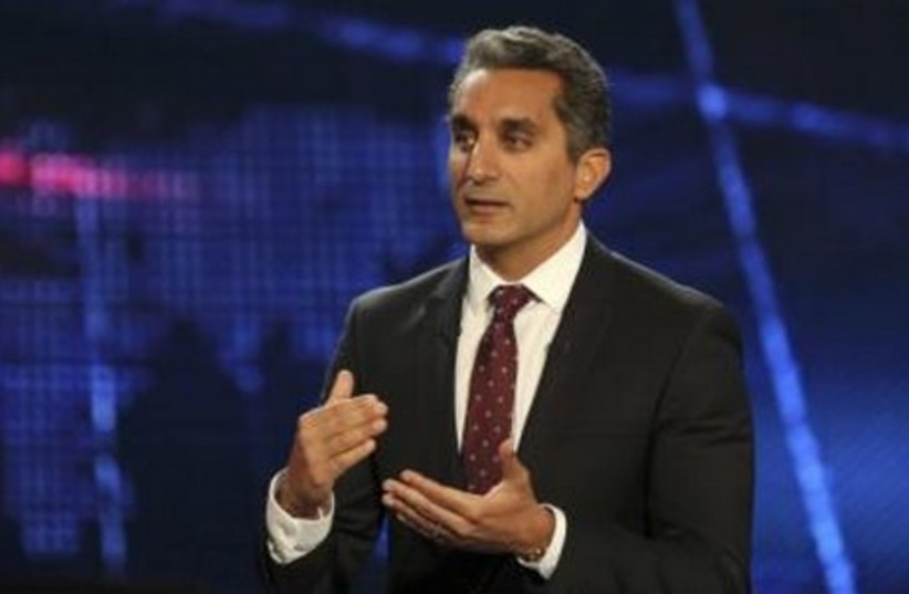 Egyptian satirist Bassem Youssef talks during a news conference in Cairo June 2, 2014. (photo credit: REUTERS)