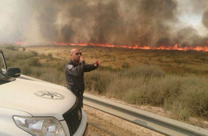 Wildfires swept across parts of the northeastern Negev, June 3, 2014. (photo credit: ISRAEL POLICE)