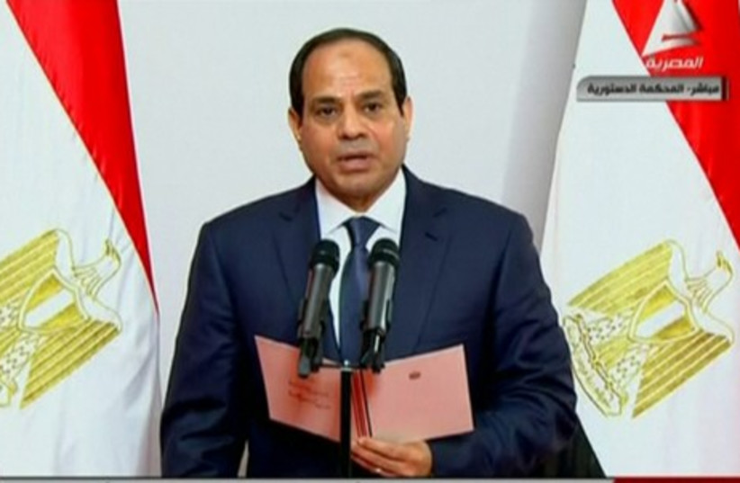 Abdel Fattah al-Sisi takes the oath (photo credit: REUTERS)