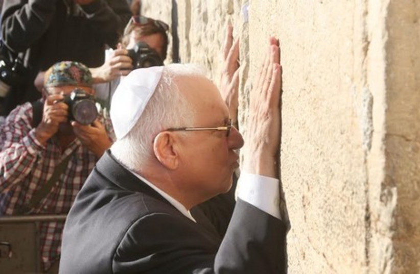 Reuven Rivlin at Western Wall after winning presidency. (photo credit: MARC ISRAEL SELLEM)