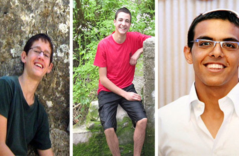 Missing yeshiva students (left to right)Naphtali Fraenkel, Gil-ad Shaar and Eyal Yifrach. (photo credit: REUTERS)
