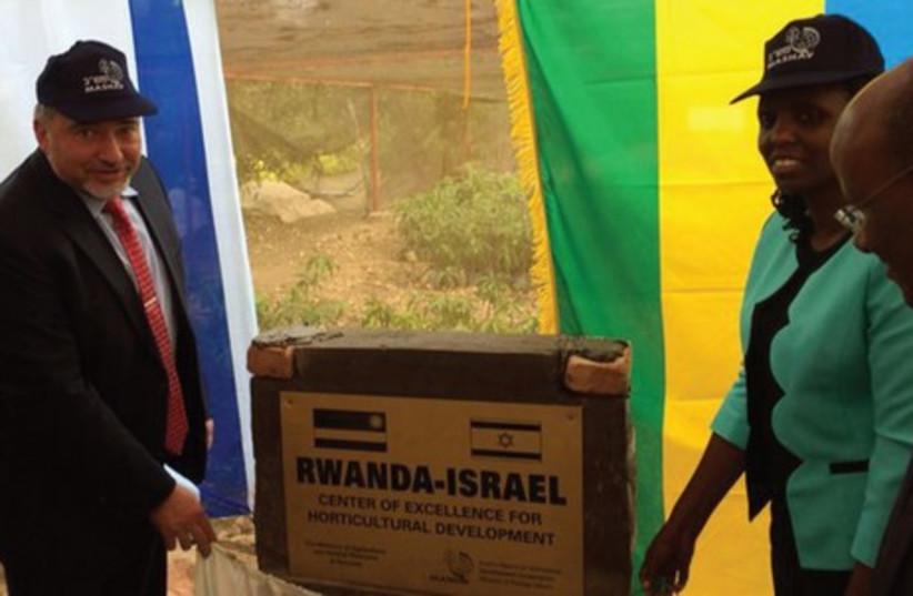 FOREIGN MINISTER Avigdor Liberman opens a Rwanda-Israel center last week. (photo credit: REUTERS)