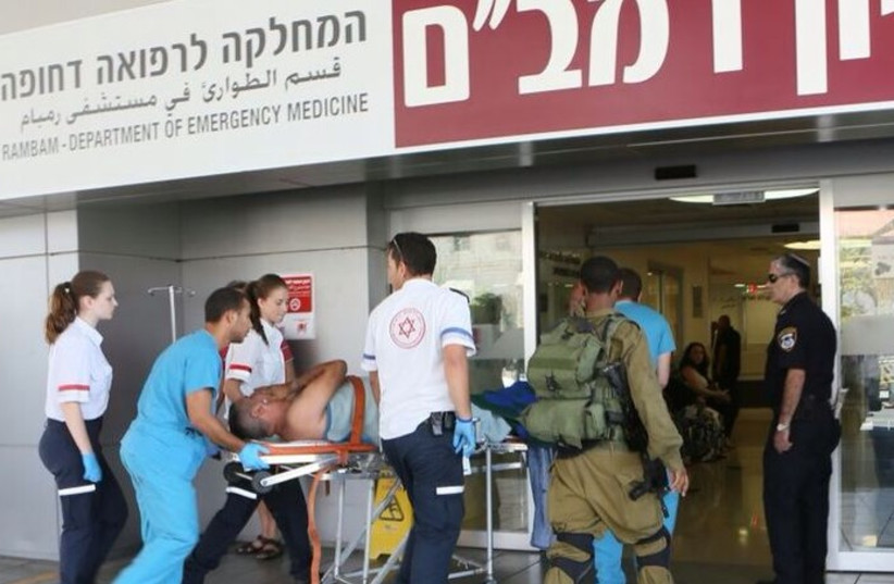 An injured person taken to Rambam Hospital. (photo credit: RAMBAM HOSPITAL SPOKESMAN)