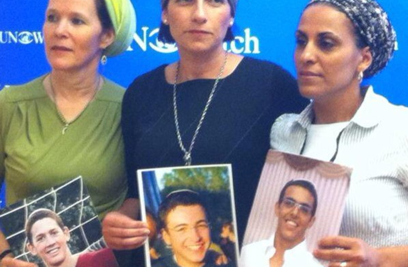 Mothers of Eyal Yifrah, Gil-Ad Shaer and Naftali Fraenkel (photo credit: ISRAEL AT THE UN-GENEVA)