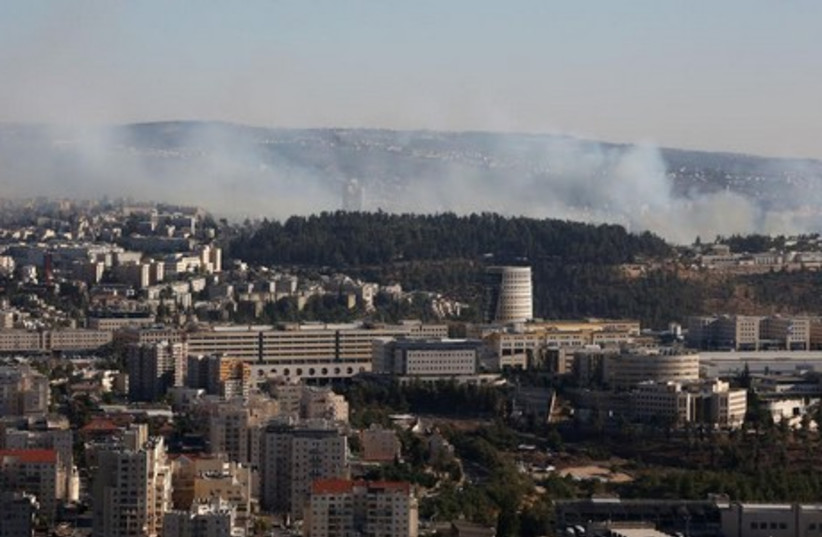 Fire rages in  Ein Kerem forest (photo credit: MARC ISRAEL SELLEM)