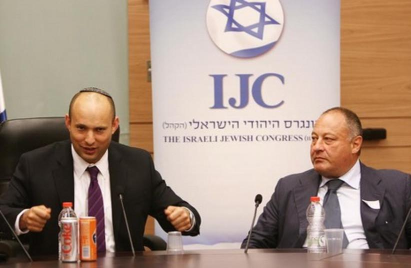 Jerusalem and Diaspora Affairs Minister Naftali Bennett and IJC President Vladimir Sloutsker. (photo credit: YOEL BALINKO / ISRAELI-JEWISH CONGRESS)