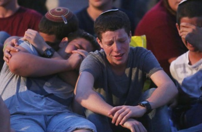 Friends of the boys mourn (photo credit: MARC ISRAEL SELLEM)