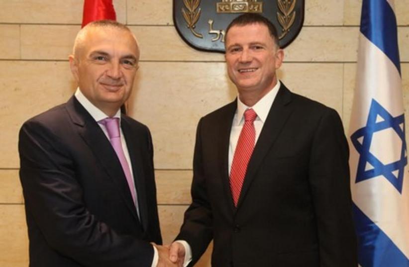 Knesset Speaker Yuli Edelstein meets with his Albanian counterpart Ilir Meta. (photo credit: KNESSET SPOKESMAN'S OFFICE)