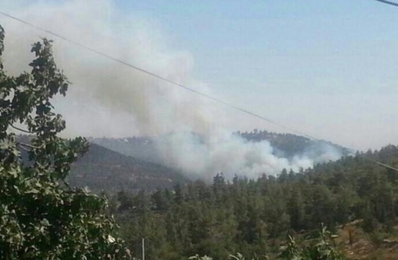 Fire in Jerusalem area, July 2, 2014. (photo credit: POLICE SPOKESPERSON'S UNIT)