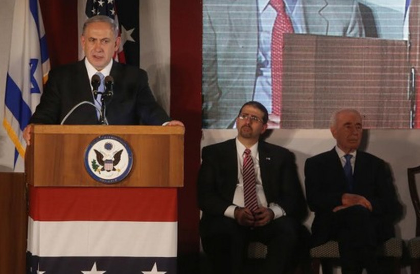 Netanyahu speaks at Fourth of July celebration, July 3, 2014. (photo credit: MARC ISRAEL SELLEM)