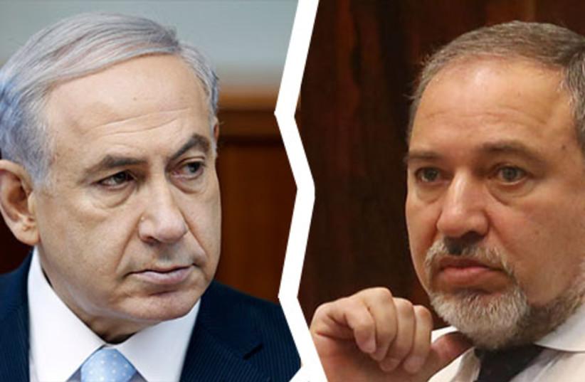 Netanyahu and Liberman splitting (photo credit: REUTERS)
