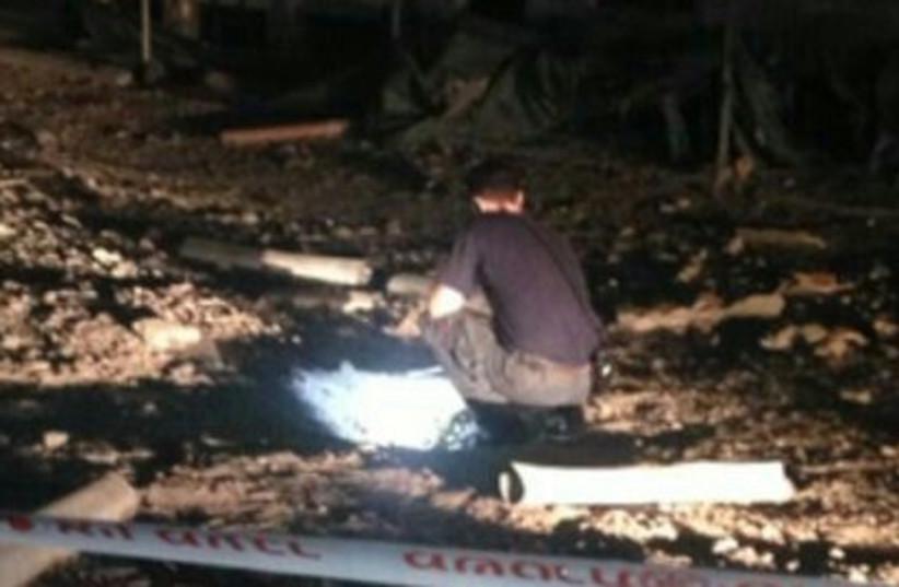 Rocket from Gaza lands in Lachish region. (photo credit: POLICE SPOKESPERSON'S UNIT)