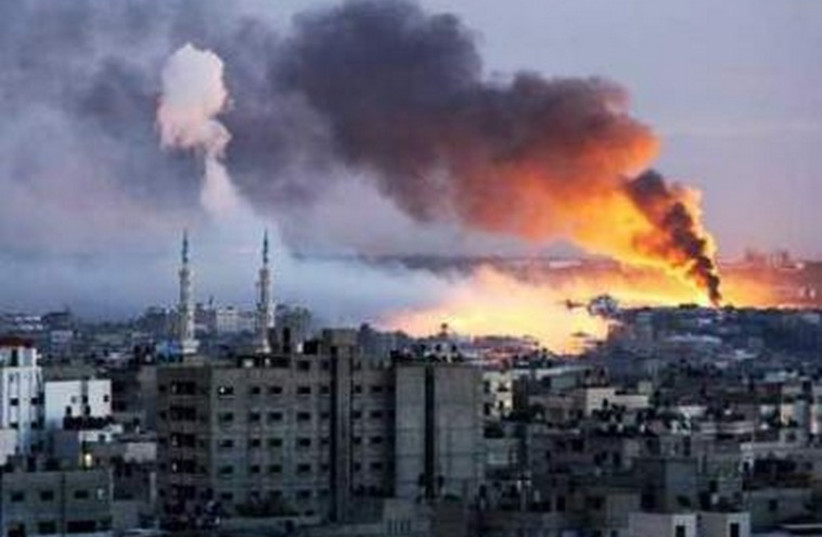 IAF strikes Gaza (photo credit: PALESTINIAN MEDIA)