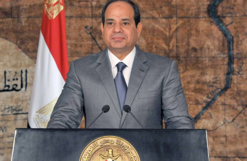 Egypt's President Abdul Fattah al-Sisi looks on as he delivers a speech in Cairo. (photo credit: REUTERS)