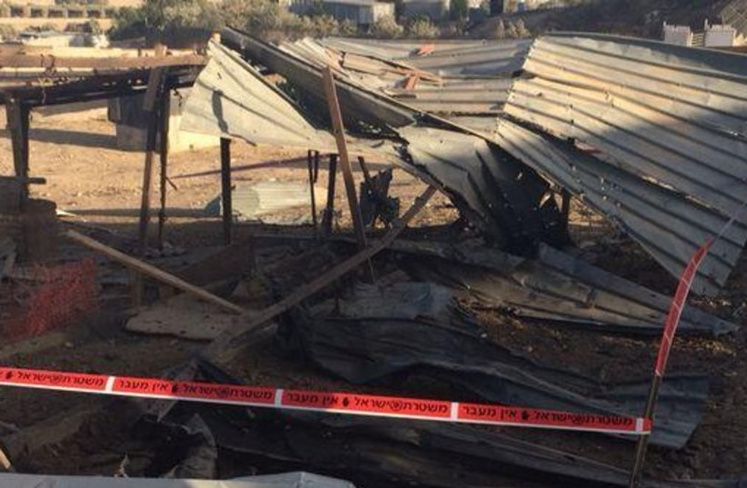 Beduin area hit by rocket strike that badly wounded two sisters aged 10, 15 .jpg (photo credit: ISRAEL POLICE)