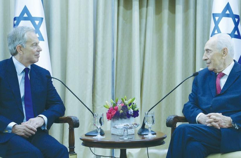 President Shimon Peres meets with Quartet envoy Tony Blair in Jerusalem. (photo credit: YOSEF AVI YAIR ENGEL/PRESIDENT'S RESIDENCE)