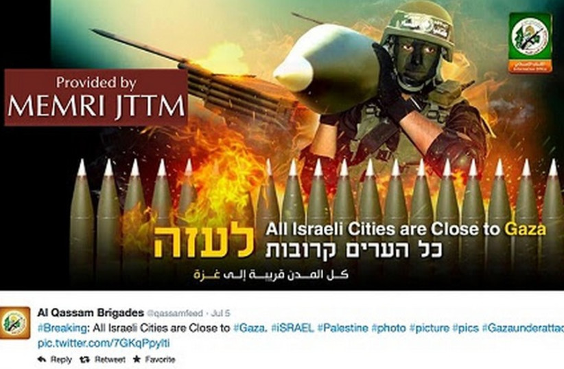 An image from the Hamas military wing's Twitter feed. (photo credit: MEMRI)