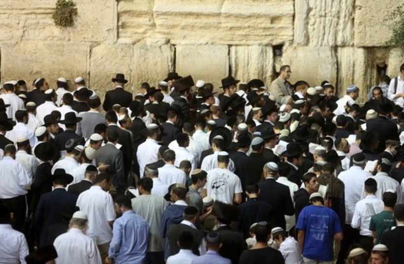 Prayer at western wall for IDF soldiers  (photo credit: MARC ISRAEL SELLEM/THE JERUSALEM POST)
