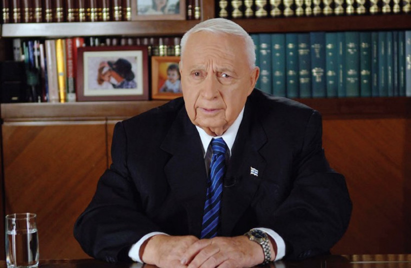 Prime Minister Ariel Sharon addresses the nation on the disengagement from Gaza, August 15, 2005 (photo credit: REUTERS)