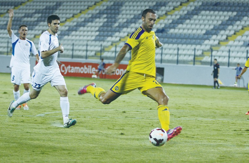Despite Rade Prica's numerous misses, Maccabi Tel Aviv still secured its progress to the third qualifying round of the Champions League last night with a victory over Santa Coloma in Cyprus. (photo credit: MACCABI TEL AVIV WEBSITE)