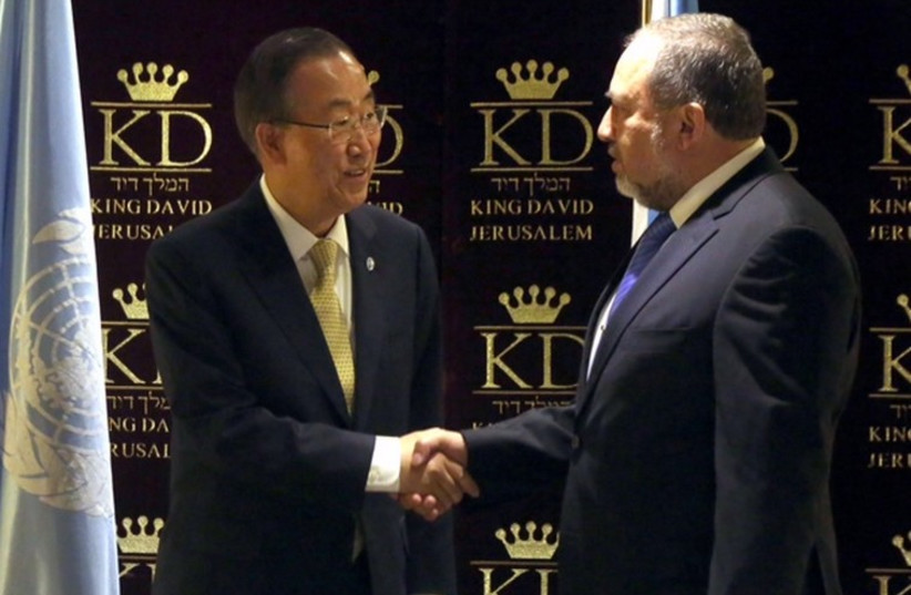 Liberman and UN Secretary General Ban Ki Moon (photo credit: YOSSI ZAMIR)