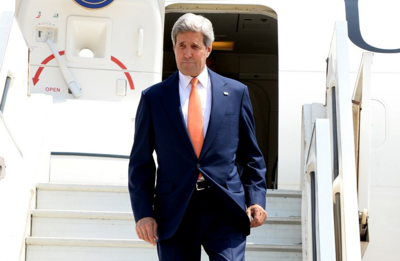 John Kerry arrives in Israel, July 23 (photo credit: MATTY STERN, US EMBASSY TEL AVIV)