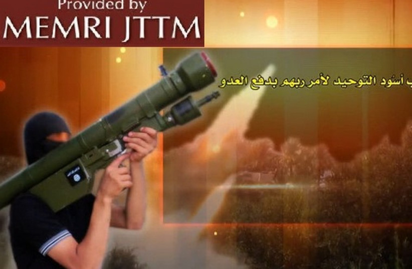 Majlis Shura Al-Mujahideen released a short video featuring one of its fighters carrying a man-portable air-defense system (MANPAD). (photo credit: MEMRI)