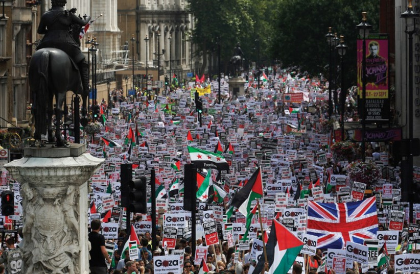 Hundreds of demonstrators march up Whitehall, in central London, as they protest against Israel's military action in Gaza on July 19, 2014 (photo credit: REUTERS)