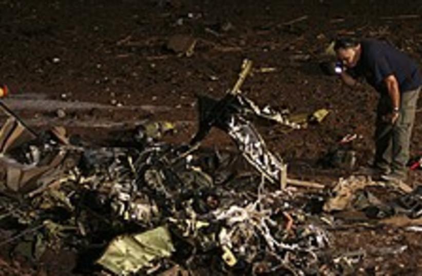 Cobra crash wreckage 224.88 (photo credit: AP)