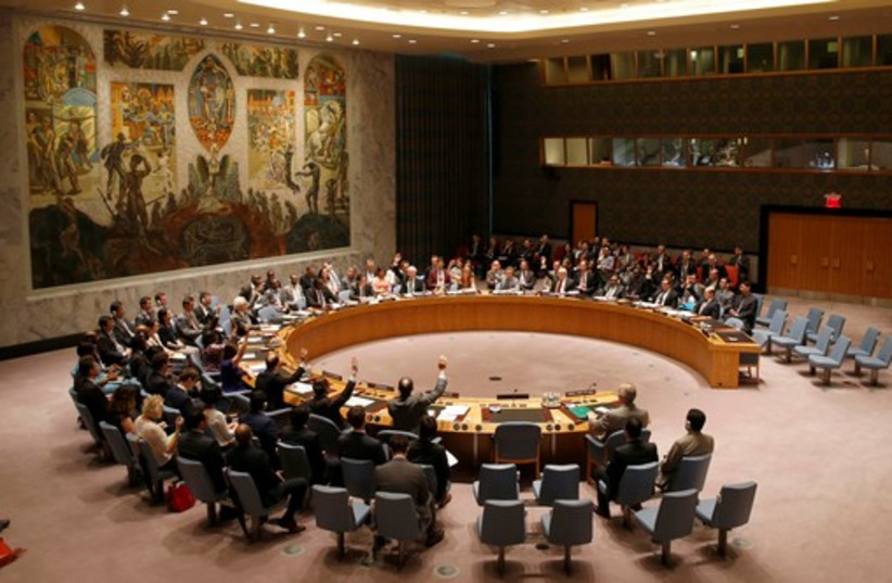 A United Nations Security Council meeting at UN headquarters in New York. (photo credit: REUTERS)