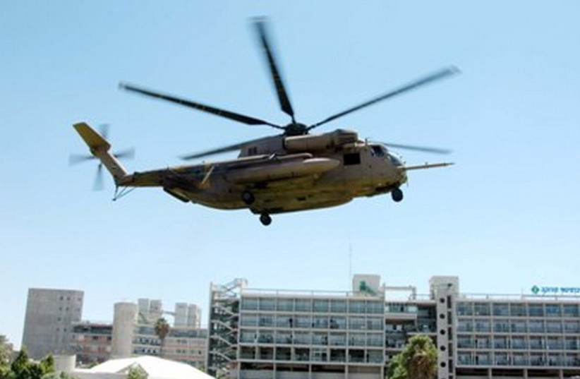 Helicopter in front of Soroka University Medical Center. (photo credit: SOROKA MEDICAL CENTER)