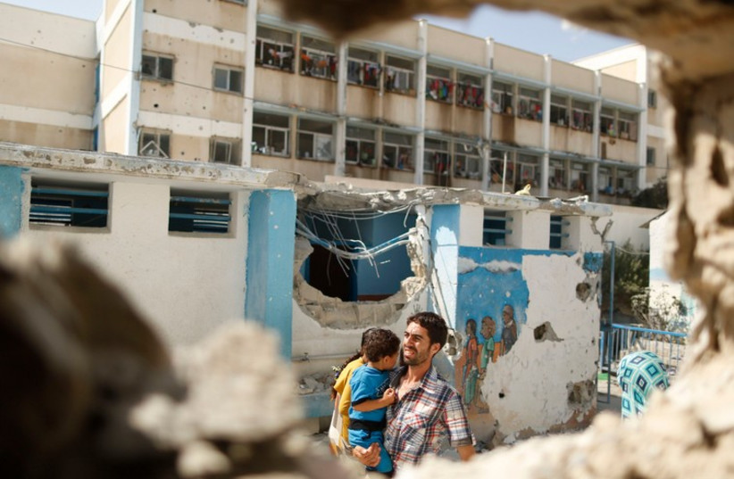 UNRWA school damaged by fighting in Gaza (photo credit: REUTERS)