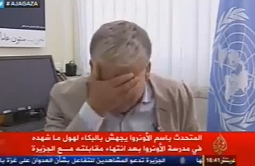 UNRWA spokesperson Chris Gunness breaks down in tears during interview with Al Jazeera. (photo credit: YOUTUBE SCREENSHOT)