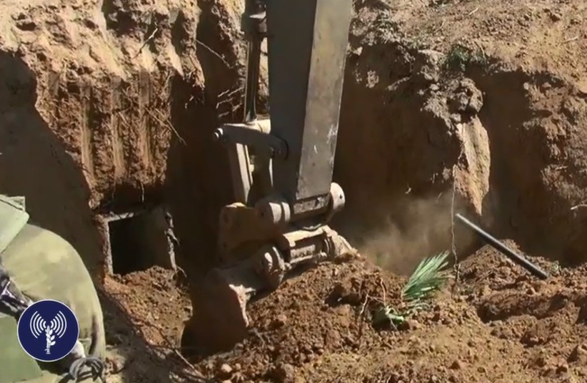 IDF uncovers Gaza tunnel (photo credit: IDF SPOKESMAN'S OFFICE)