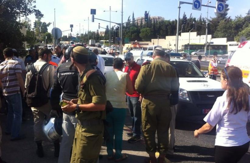 Scene of Jerusalem shooting incident (photo credit: MOTI KANELSKI)