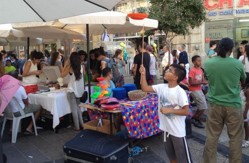 DOZENS OF merchants from the south line Ben Yehuda Street Wednesday during an all-day fair.  (photo credit: DANIEL K. EISENBUD)
