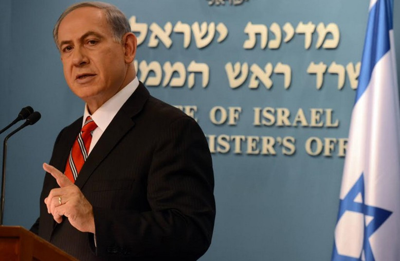 PM Benjamin Netanyahu speaks to foreign press about Operation Protective Edge (photo credit: GPO)