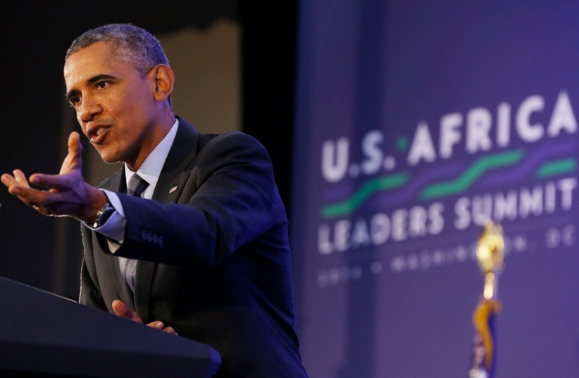 U.S. President Barack Obama holds a news conference at the conclusion of the the U.S.-Africa Leaders Summit at the State Department in Washington, August 6 (photo credit: REUTERS)