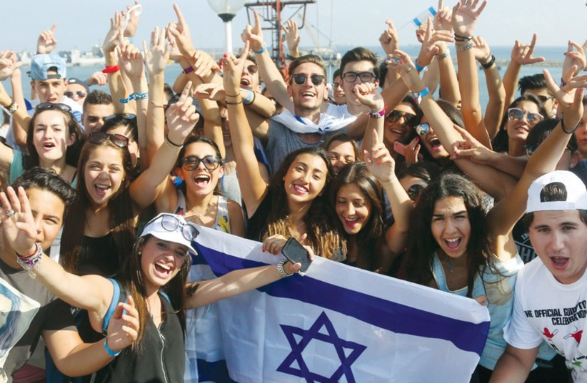 Eight hundred young French men and women participate in a reenactment of the illegal immigration of Jews from Cyprus to Israel. (photo credit: MARC ISRAEL SELLEM/THE JERUSALEM POST)