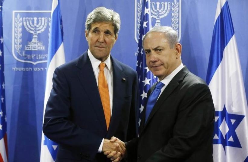 Kerry, Netanyahu in Tel Aviv July 23 (photo credit: REUTERS)