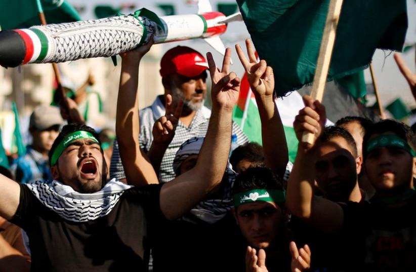 Muslim Brotherhood demonstration, Amman, August 8, 2014.  (photo credit: REUTERS)