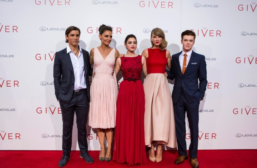 "Katie Holmes, Odeya Rush, Taylor Swift attend premiere of ""The Giver"" in New York August 11 (photo credit: REUTERS)"