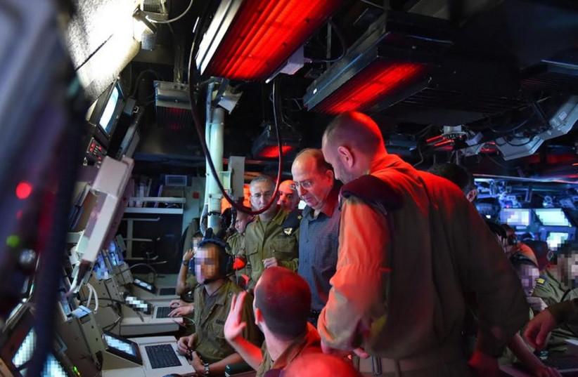 Defense Minister Moshe Ya'alon during a visit to the Israel Navy base (photo credit: DEFENSE MINISTRY)
