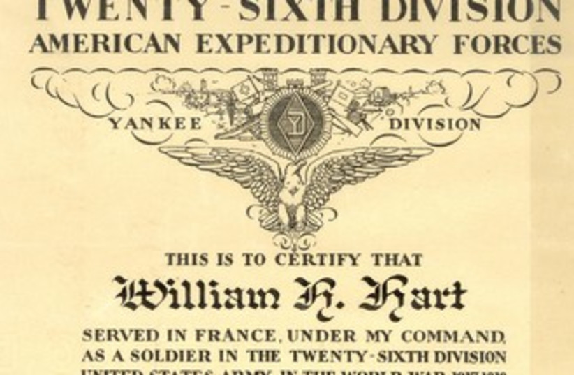 THE CITATION presented to William Hart by his commanding officer after the war. (photo credit: Courtesy)
